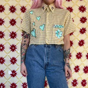 Vintage reworked cropped plaid button up shirt